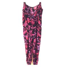 Aqua Jumpsuit. Floral pattern jumpsuit from Aqua. Pink/purple/black. Size Large but runs a little small (more like a medium.) Great for special occasions (wore once to a birthday dinner.) Button front closure. Aqua Pants Jumpsuits & Rompers