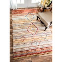 nuLOOM Moroccan Striped Diamonds Multi Rug (5'3 x 7'7) - 17854711…