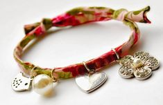DIY Fabric Charm Bracelet with sliding knot closure Tutorial