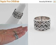 Vintage Sterling Silver Wide Band Swirl Ring, Swirled, S Design, Oxidized, Thick, Size 6 1/2, So Pretty! #b644