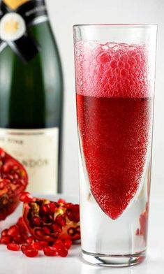 Pomosa - Pomegranate juice and champagne: We made these to go with our Christmas dinner. They were very good. We used a sweet champagne and pom pomegranate juice. This is a quick and very easy drink. You only need those two ingredients and your done. We will be making these in future for sure and year round too!