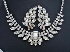 Vintage B David Rhinestone Set Necklace Earrings Demi Runway Prong Signed Clear | eBay
