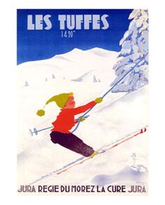 LES TUFFES Vintage Skiing Reprint Poster - Jura, French Alps, 1950 - available at www.sportsposterwarehouse.com