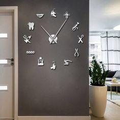 Dentist Tools Frameless 3D Wall Clock Dental Practitioners Clinic Stomatological Hospital Orthodontics Room Art Decor Clock Clinic Interior Design, Clinic Design, Modern Interior Design, Design Salon, Design Clinique, 3d Wall Clock, Diy Clock, Wall Art, Clock Decor
