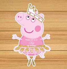 Pink and Gold Peppa Ballerina Birthday Invitation, Peppa Pig Invitation, Peppa… Ballerina Birthday, Pig Birthday, Third Birthday, 3rd Birthday Parties, Birthday Ideas, Birthday Cards, Fiestas Peppa Pig, Cumple Peppa Pig, Peppa Pig Invitations