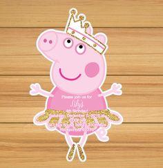Rosa y oro Peppa bailarina cumpleaños por BirthdayPartyBox en Etsy