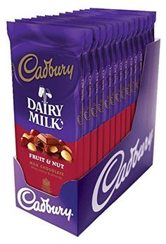 CADBURY Fruit and Nut Milk Chocolate Bar Pack of >> Don't get left behind, see this great product : Fresh Groceries Cadbury Dairy Milk, Cadbury Fruit And Nut, Dairy Milk Chocolate, Cadbury Chocolate, Chocolate Shop, Best Chocolate, Chocolate Lovers, Chocolate Spread, Bonbon