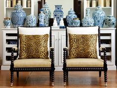 Leopard print with blue and white vases, a modern take on british colonial style.