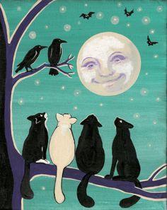 4x6 PRINT OF PAINTING RYTA TUXEDO BLACK CAT FOLK ART CROW HALLOWEEN MOON RAVENS