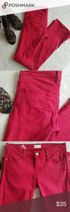 """MOTHER Jeans The Runaway in Poppy Red Skinny baby boot cut in a blue red. It looks lighter in picture but is a true blue red. Hemmed  to 29"""" inseam with 15"""" leg opening. I wore these twice. There is a small snag on the seat below the right pocket. I reduced price. Barely visible. I washed and hung to dry because they are super premium denim. Best red jeans I have ever owned! MOTHER Jeans"""