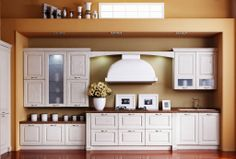 L shape cherry wooden kitchen with bar Solid Wood Kitchen Cabinets, Solid Wood Kitchens, Kitchen Cabinet Design, Wooden Kitchen, Cheap Kitchen Doors, China Kitchen, Panel Doors, Beautiful Kitchens, Cabinet Doors