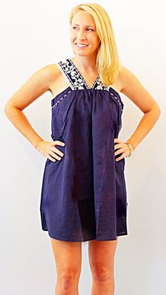 MEXICAN DRESS - NAVY + WHITE