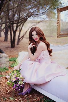 Pink strapless dress from Enzoani. Captured By: Tina Chiou Photography ---> http://www.weddingchicks.com/2014/05/28/springtime-soiree-for-your-besties/