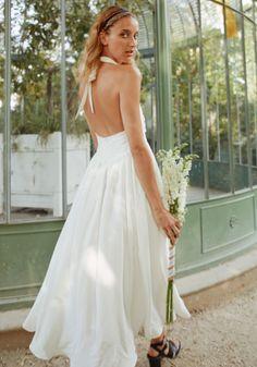 Robe de mariéelongue pas cher romantique et dos-nu pour mariage civil -  Boutique de d7647c2dff2
