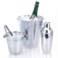 Stainless Steel Ice Buckets and Cocktail Shaker Set (4 pieces)