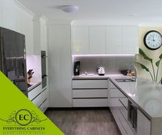 Modern Kitchen with LED strip lights under overhead cupboards really brings out . Modern Kitchen w Staircase Lighting Ideas, Low Ceiling Lighting, Strip Lighting, Modern Bathroom Design, Bathroom Interior, Cupboard Lights, Rustic Bathroom Shelves, Living Room Light Fixtures, Bathroom Lighting