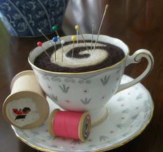 Teacup pincushion...what a great idea - would make wonderful Christmas Presents!