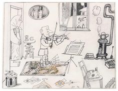 Saul Steinberg: Untitled (Self-portrait as a child playing the violin), Pencil and colored pencil on paper, 10 ½ x 13 ½ in. Originally published in The New Yorker, May The Saul Steinberg Foundation. Farm Paintings, Illustration, Caricature, Saul, Art, Original Drawing, Nature Inspiration, Saul Steinberg, The New Yorker