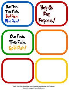 Free Dr. Seuss party printables, Dr. Seuss food signs, Dr. Seuss favor tags!