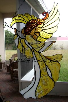 Stained Glass Panel  Angel with Trumpet by DobbyStainedGlass, $289.00