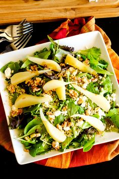 Poached Pear Quinoa Salad with Walnuts and Goat Cheese