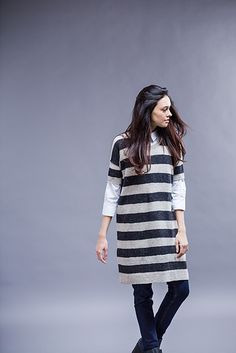 Joji Locatelli returns to Wool People—her Seacoast pullover was a popular favorite from Volume 7—with an easy top-down sweater dress featuring graphic wide stripes.