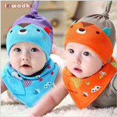 0-8month bebé cap & baberos de algodón traje uno fija lindo oso de peluche de dibujos animados gorras recién nacido infantil del bebé del triángulo baberos de toalla sombreros y baberos conjuntos