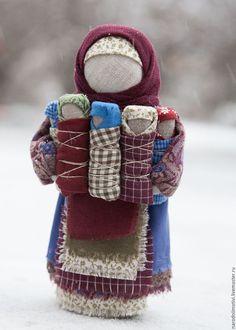 Народная кукла СемьЯ (Московка, Плодородие) - бордовый, русская народная кукла, оберег