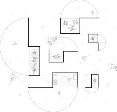 dessin arbre dessus plan de masse aménagement paysager