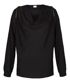 Warehouse cowl neck black jersey top with gold shoulder zips