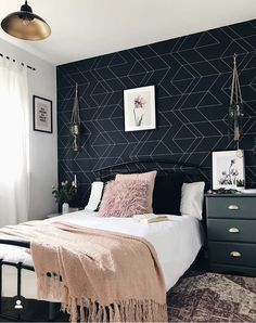 (AD) I'm so pleased to show you the spare room revamp that I've been working on in collaboration with I've done it all myself, so I hope you Blue And Gold Bedroom, Navy Bedroom Decor, Room Ideas Bedroom, Cozy Bedroom, Wall Paper Bedroom, Navy Master Bedroom, Navy Blue Bedrooms, Bedroom Color Schemes, Bedroom Colors