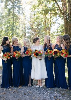 Navy Bridesmaids dresses. Southern Weddings
