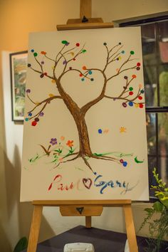 Painted Tree Canvas Guest Book Alternative