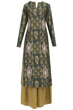 emerald green kurta in silkmul base with jharokha embroidered motifs all over. It is paired with cigar green satin silk palazzo pants and blush embroidered net dupatta.