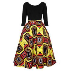 Classy and unique dress with a great mix of a soft cotton bodice and an African print midi circle skirt. Get the best of both worlds with this dress that's available in all sizes, and comes in a varie African Print Skirt, African Print Dresses, African Wear, African Attire, African Fabric, African Women, African Dress, African Prints, African Style