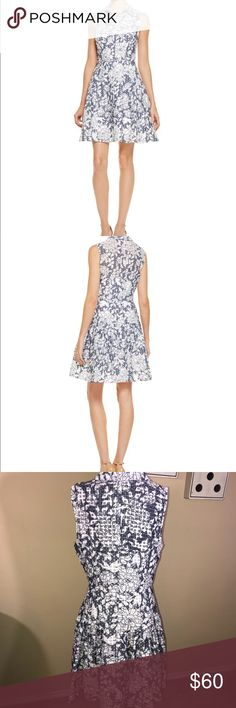 Vince Camuto Floral & Grid dress Betsy Johnson Floral and Grid dress NWT size 12. Dress has square detailing throughout with floral print to accent its beauty  Pit or pit approx 18' Length approx 38' Betsey Johnson Dresses Midi