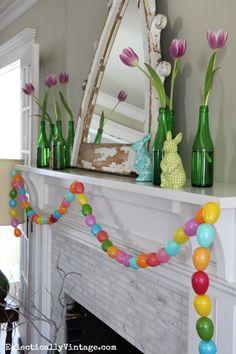 Spring Mantel Decorating Ideas | Glass bottles, Bottle and Mantels