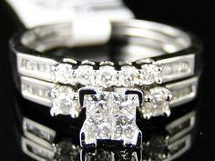 WOMENS WHITE GOLD PRINCESS CUT DIAMOND ENGAGEMENT BRIDAL WEDDING RING