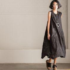 Korean Style Sleeveless Black Long Dress Q9071A