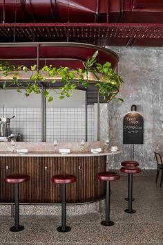 Pink marble and patchy concrete emulate ancient Rome in Melbournes Pentolina pasta bar beton Bar Interior Design, Restaurant Interior Design, Cafe Interior, Cafe Design, Küchen Design, Restaurant Interiors, Design Blog, Design Hotel, Design Interiors
