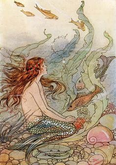 VintageFeedsacks: Free Vintage Clip Art - Vintage Mermaid Watercolor and Seashells Mermaid Illustration, Children's Book Illustration, Clip Art Vintage, Vintage Ephemera, Illustrator, Arthur Rackham, Kunst Poster, Mermaids And Mermen, Fantasy Mermaids