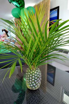 "Photo 22 of Hawaiian Luau / Birthday ""Hawaiian Luau"" Hawaiian Luau Party, Hawaiian Birthday, Hawaiian Theme, Luau Birthday, Tropical Party, Birthday Parties, Anniversaire Luau, Pineapple Centerpiece, Pineapple Vase"