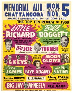 Classic R&B Concert Poster (Nov. 5, 1956, Chatanooga, TN) with Little Richard, Bill Doggett, Big Joe Turner, The 5 Keys, The Moonglows, Etta James, Faye Adams, The 5 Satins & more