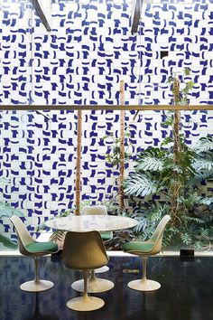 Blue and white tiled wall.