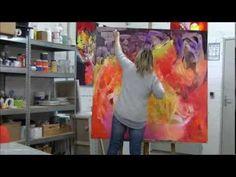 Démonstration de peinture abstraite par Jadis 3 - YouTube