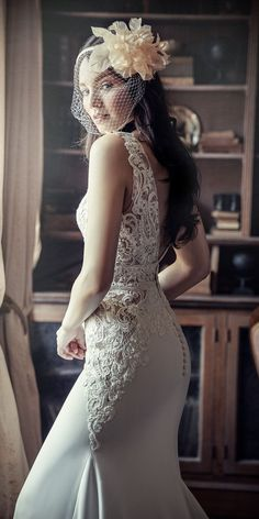 Beautifully detailed lace and a plunging V-neckline lined with beads & sequins complete this sheath wedding dress. Plus Size Brides, Plus Size Wedding, Paris Wedding, Gatsby Wedding, Elegant Wedding Dress, Designer Wedding Dresses, Bridal Gowns, Wedding Gowns, Sheath Wedding Gown