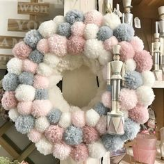 40 Boho Christmas Decor Ideas To Create your Special Happy Place Hike n Dip Wreath Crafts, Diy Wreath, Holiday Crafts, Spring Crafts, Crafts For Teens To Make, Diy And Crafts, Pom Pom Kranz, Pom Pom Wreath, Pom Pom Tree