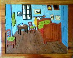 O quarto de Van Gogh talhado em madeira de cedro, arte feita nos tempos de ensino médio, que ainda guardo com muito carinho!