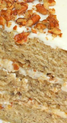 Banana Cake with Butter Pecan Cream Cheese Filling ~ Moist and flavorful