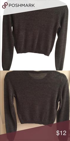 Brandy Melville Cropped Sweater Brandy Melville Dark Grey Wool Knit Cropped Sweater. No tag attached (it fell off) Worn once. Size small, does not fit skin tight. Looks cute with high waisted skirt. Brandy Melville Sweaters Crew & Scoop Necks